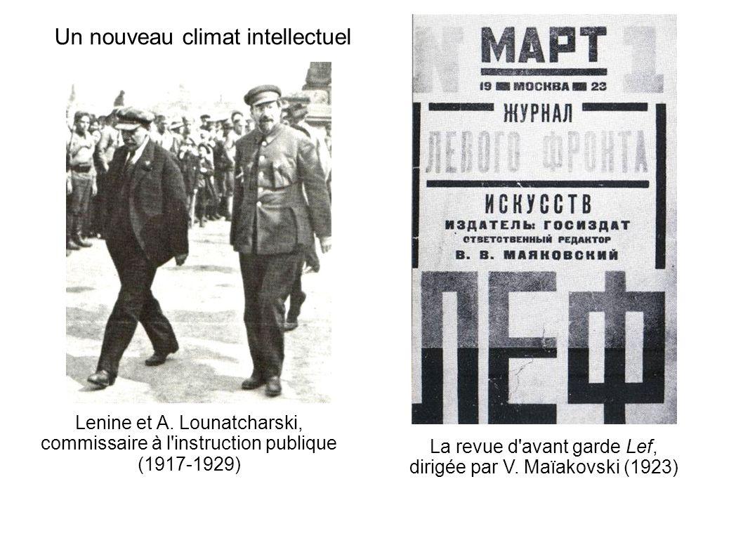 Un nouveau climat intellectuel Lenine et A. Lounatcharski, commissaire à l'instruction publique (1917-1929) La revue d'avant garde Lef, dirigée par V.