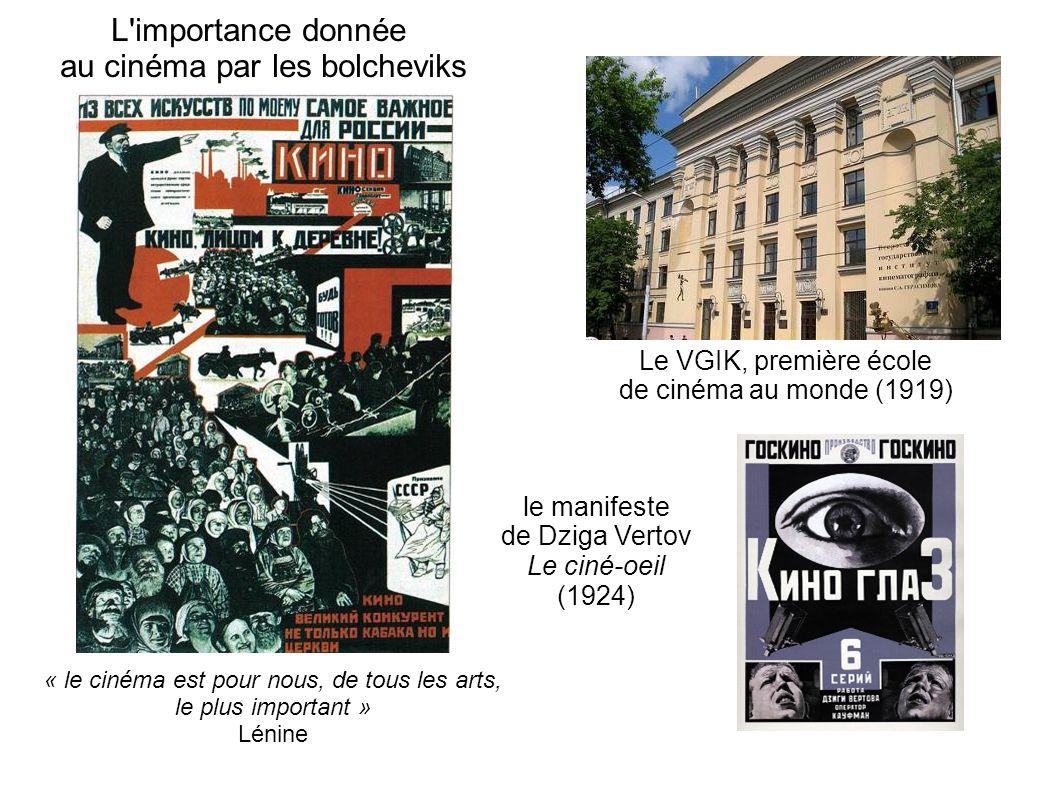 L importance donnée au cinéma par les bolcheviks Le VGIK, première école de cinéma au monde (1919) le manifeste de Dziga Vertov Le ciné-oeil (1924) « le cinéma est pour nous, de tous les arts, le plus important » Lénine