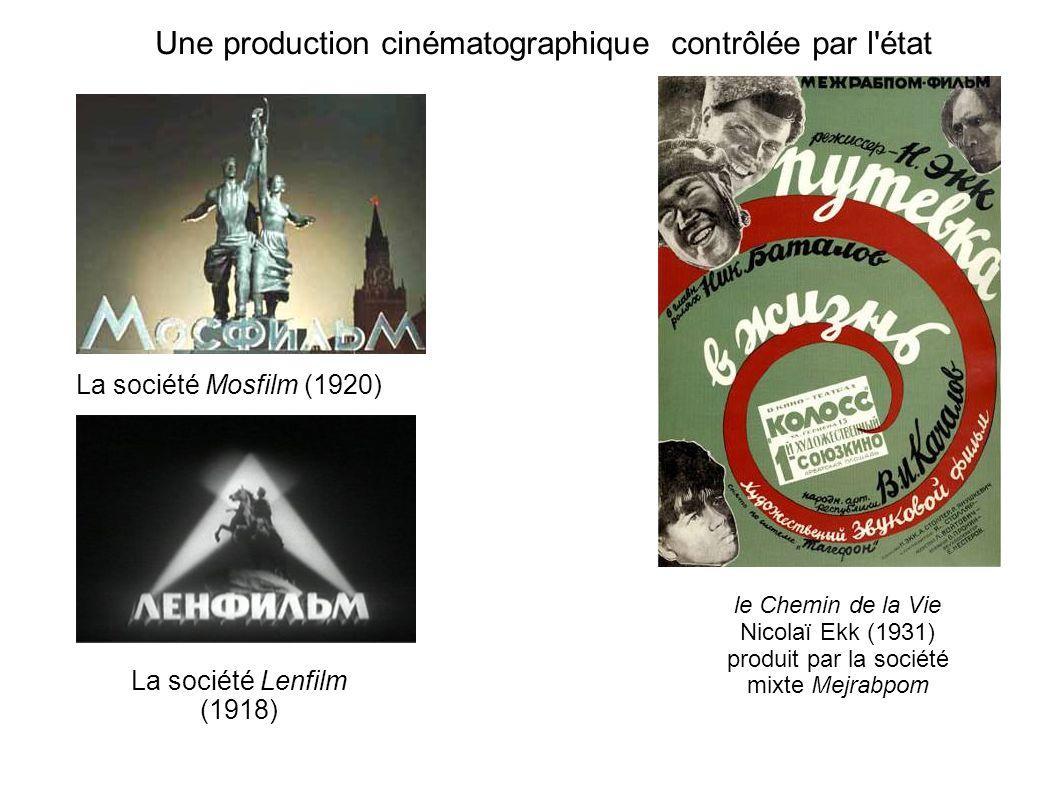 Une production cinématographique contrôlée par l état La société Mosfilm (1920) La société Lenfilm (1918) le Chemin de la Vie Nicolaï Ekk (1931) produit par la société mixte Mejrabpom