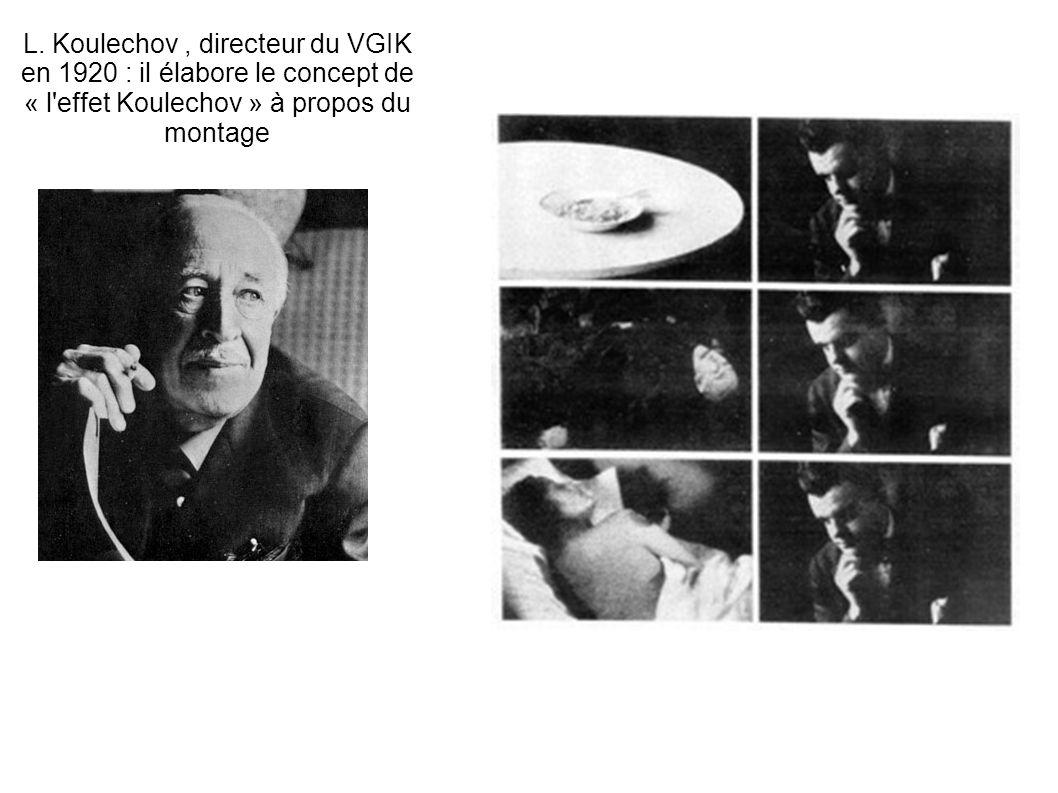 L. Koulechov, directeur du VGIK en 1920 : il élabore le concept de « l'effet Koulechov » à propos du montage