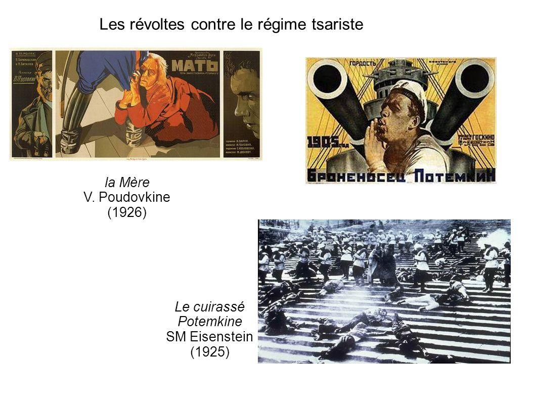 Les révoltes contre le régime tsariste la Mère V. Poudovkine (1926) Le cuirassé Potemkine SM Eisenstein (1925)