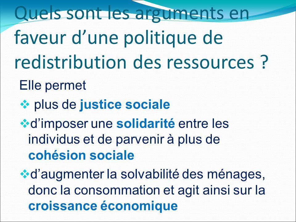 Quels sont les arguments en faveur dune politique de redistribution des ressources .