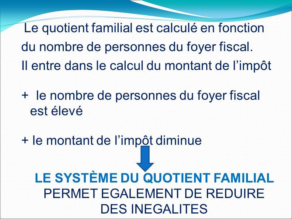 Le quotient familial est calculé en fonction du nombre de personnes du foyer fiscal.