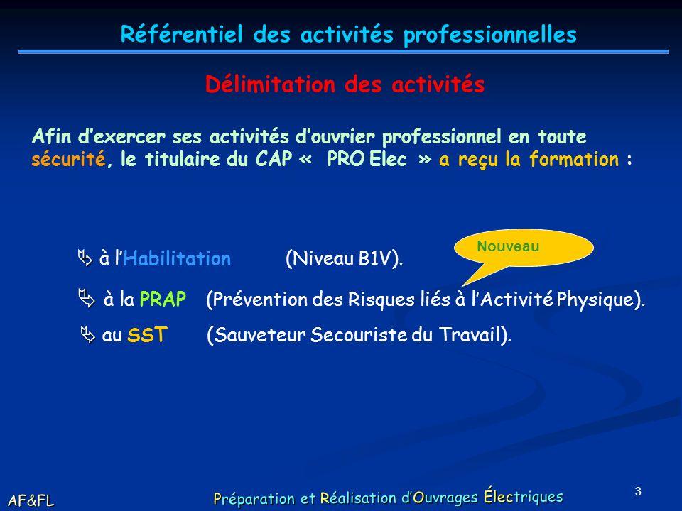 2 Les activités du titulaire dun CAP « PRO Elec », en tant quouvrier professionnel, sous la responsabilité directe dune personne de qualification supé