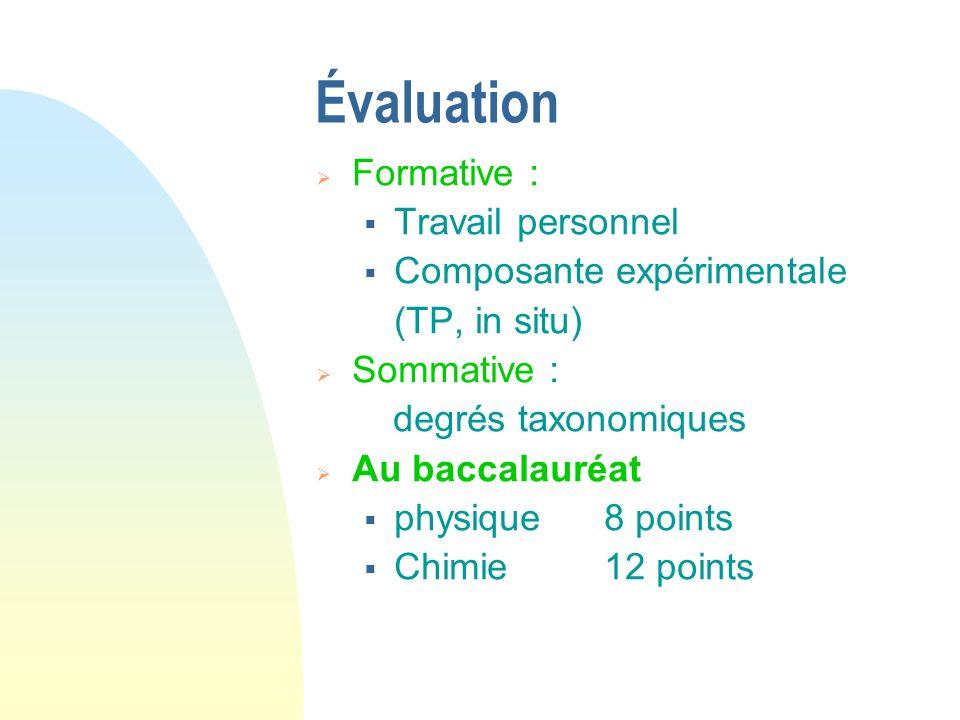 Évaluation Formative : Travail personnel Composante expérimentale (TP, in situ) Sommative : degrés taxonomiques Au baccalauréat physique 8 points Chim