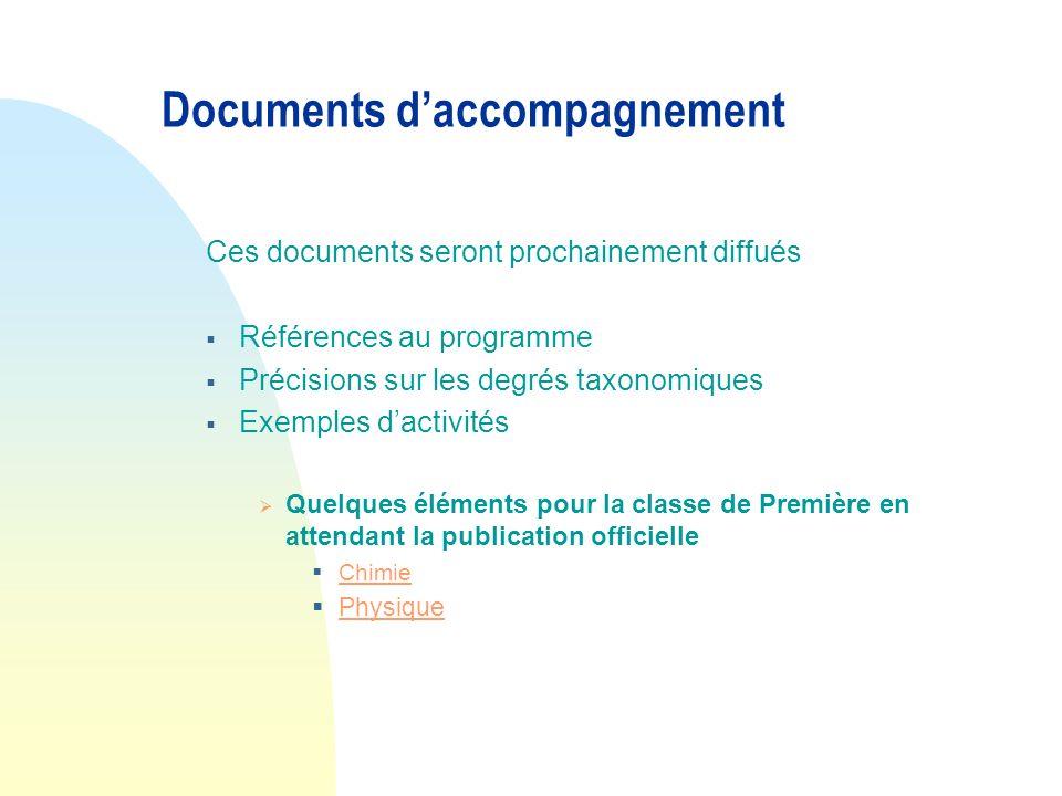 Documents daccompagnement Ces documents seront prochainement diffués Références au programme Précisions sur les degrés taxonomiques Exemples dactivité