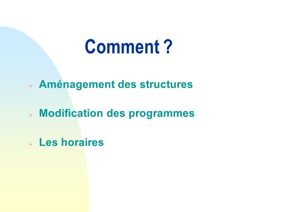 Comment ? Aménagement des structures Modification des programmes Les horaires