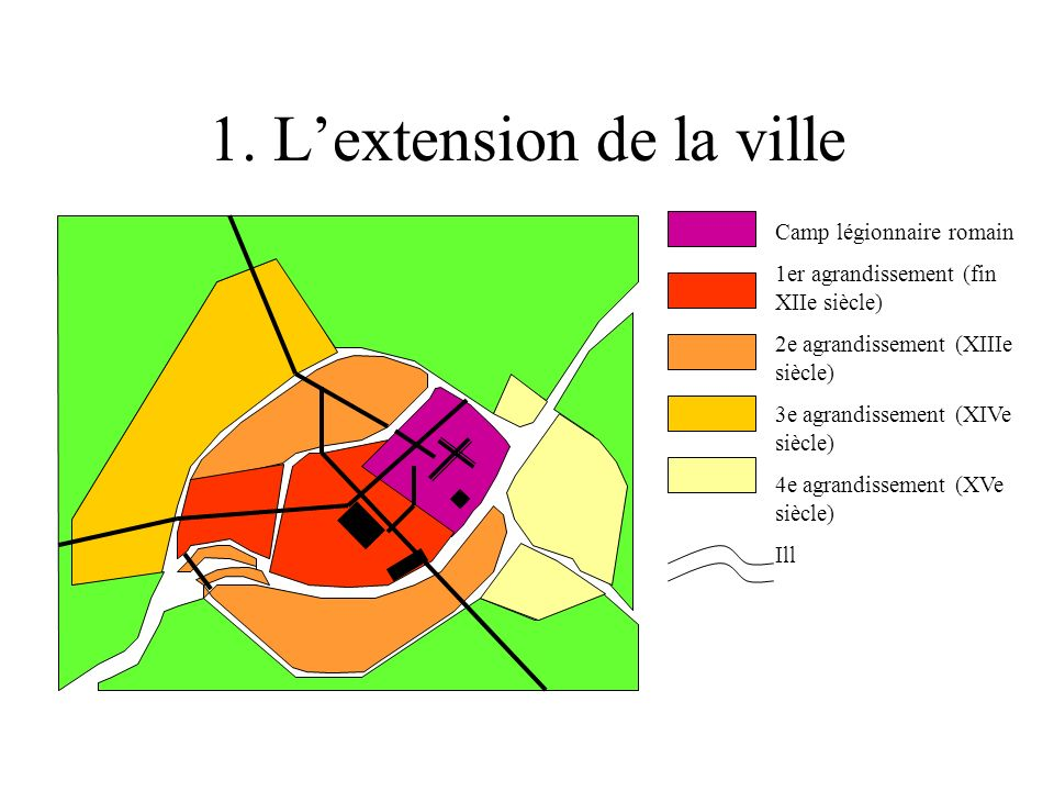 1. Lextension de la ville Camp légionnaire romain 1er agrandissement (fin XIIe siècle) 2e agrandissement (XIIIe siècle) 3e agrandissement (XIVe siècle