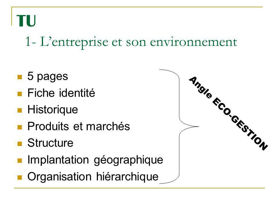 TU 1- Lentreprise et son environnement 5 pages Fiche identité Historique Produits et marchés Structure Implantation géographique Organisation hiérarch
