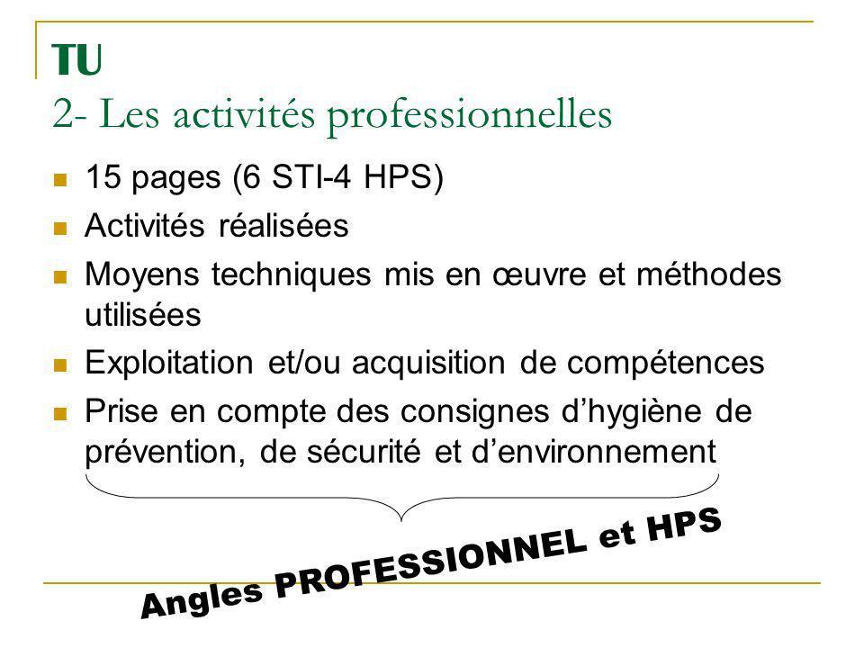 TU 2- Les activités professionnelles 15 pages (6 STI-4 HPS) Activités réalisées Moyens techniques mis en œuvre et méthodes utilisées Exploitation et/o
