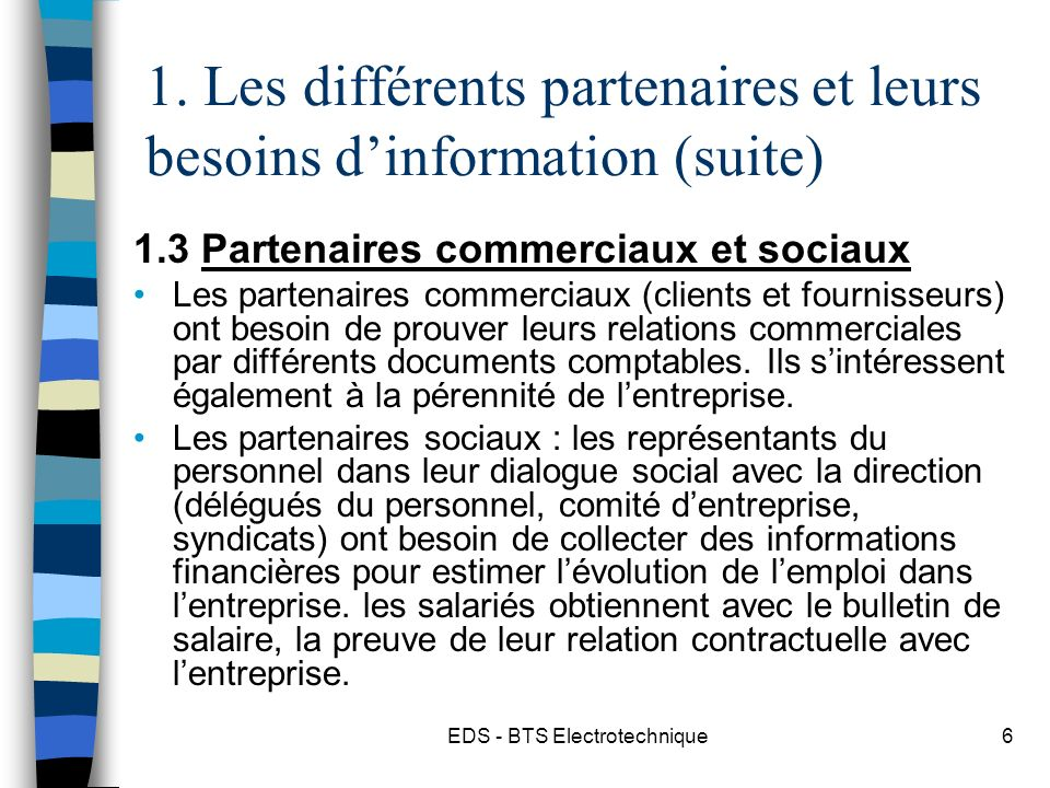 EDS - BTS Electrotechnique6 1.