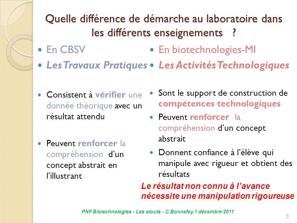 4 Quelles capacités développe la démarche technologique en « biotechnologies » .