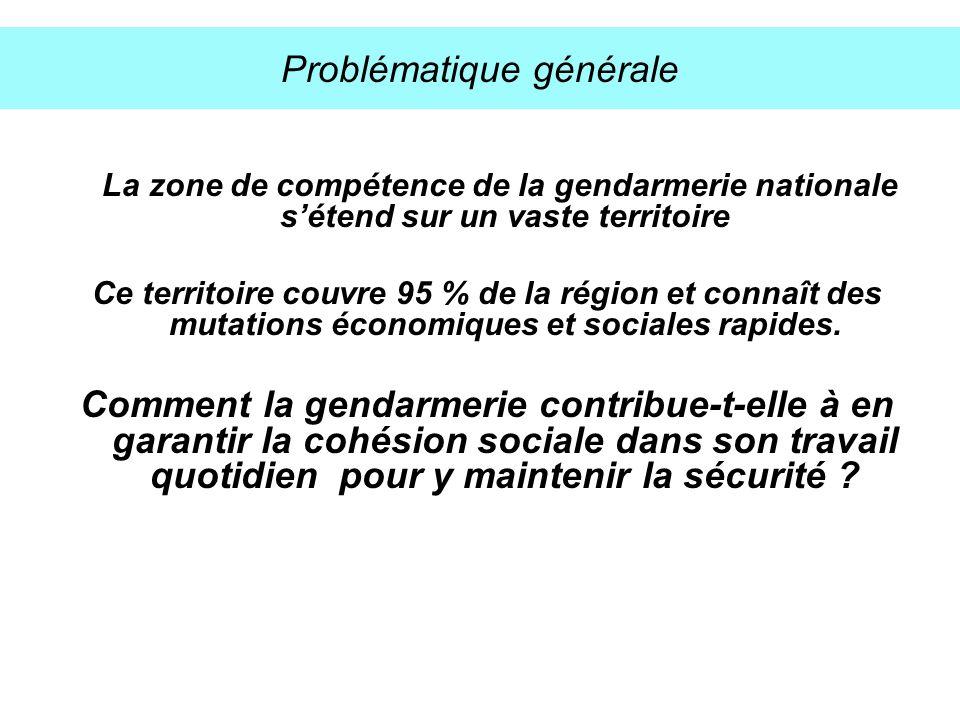 Problématique générale La zone de compétence de la gendarmerie nationale sétend sur un vaste territoire Ce territoire couvre 95 % de la région et conn
