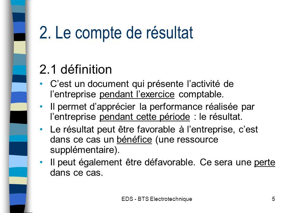 EDS - BTS Electrotechnique5 2. Le compte de résultat 2.1 définition Cest un document qui présente lactivité de lentreprise pendant lexercice comptable