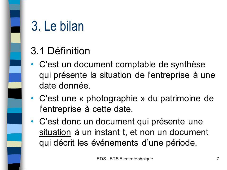 EDS - BTS Electrotechnique7 3. Le bilan 3.1 Définition Cest un document comptable de synthèse qui présente la situation de lentreprise à une date donn