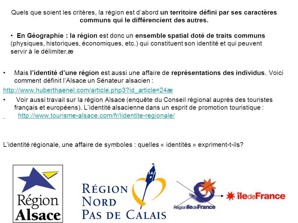 Mais lidentité dune région est aussi une affaire de représentations des individus. Voici comment définit lAlsace un Sénateur alsacien : http://www.hub