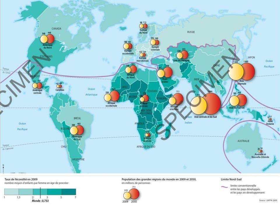 1) Une croissance exponentielle de la population En un siècle, la population de la Terre a été multipliée par 4 (plus de 6,9 milliards dhabitants en 2010 ; plus de 9 milliards dhabitants vers 2050).