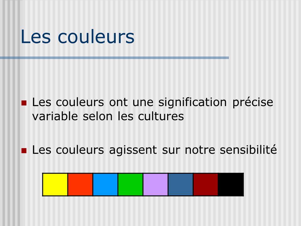 Les couleurs Les couleurs ont une signification précise variable selon les cultures Les couleurs agissent sur notre sensibilité