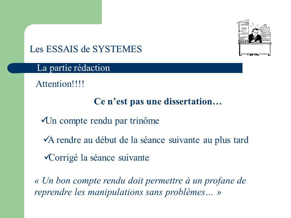 Les ESSAIS de SYSTEMES La partie rédaction Attention!!!.