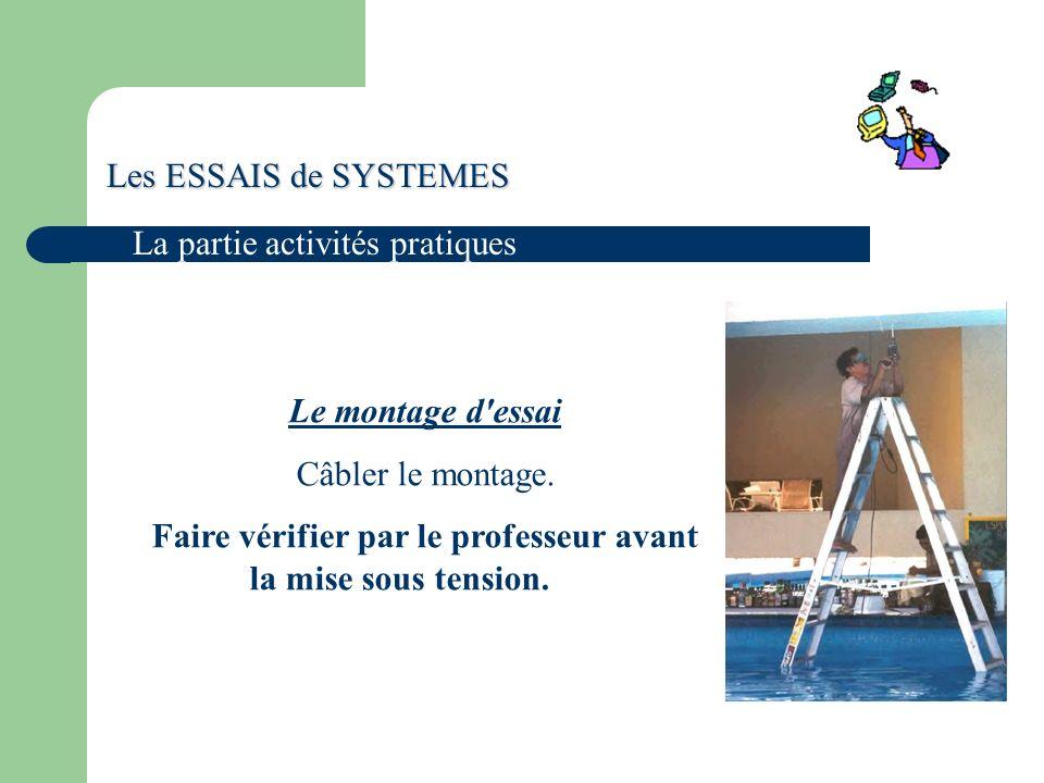 Les ESSAIS de SYSTEMES La partie activités pratiques Le montage d essai Câbler le montage.