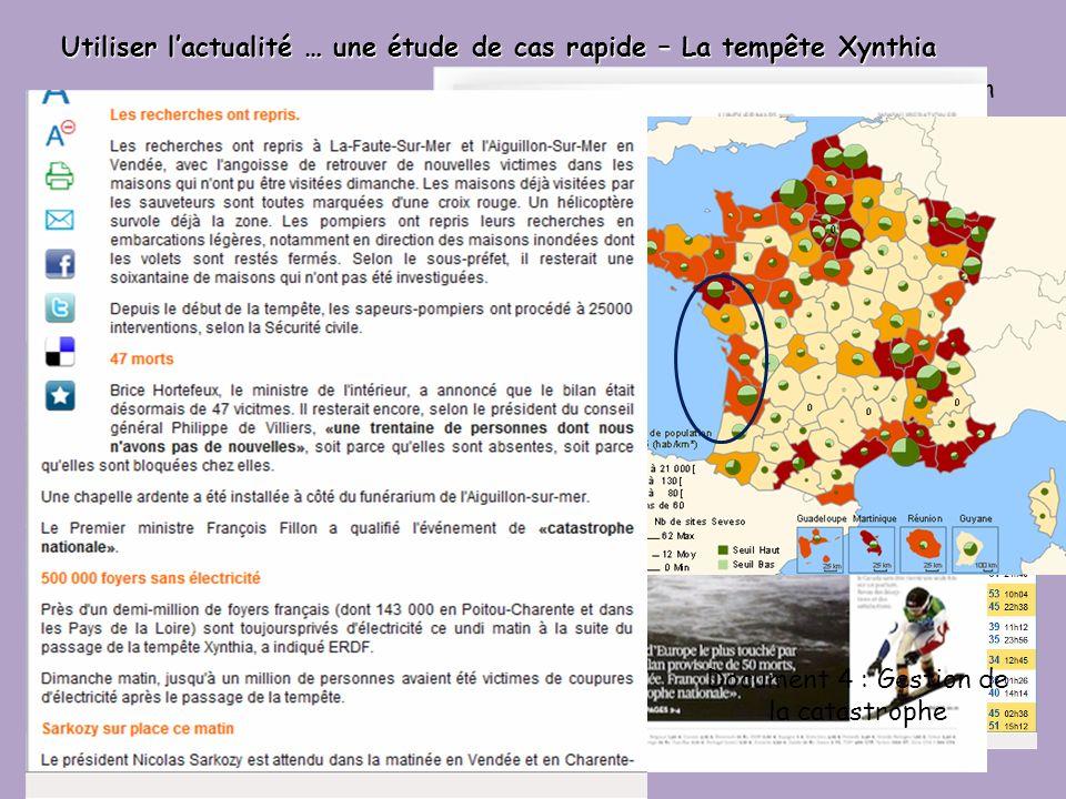Utiliser lactualité … une étude de cas rapide – La tempête Xynthia Documents 2 : Gestion dun risque Documents 1 : Quelle vulnérabilité ? Document 3 :