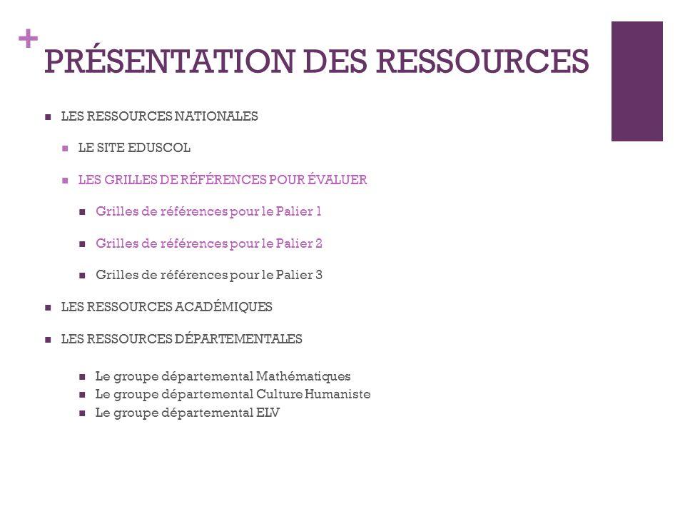 + PRÉSENTATION DES RESSOURCES LES RESSOURCES NATIONALES LE SITE EDUSCOL LES GRILLES DE RÉFÉRENCES POUR ÉVALUER Grilles de références pour le Palier 1 Grilles de références pour le Palier 2 Grilles de références pour le Palier 3 LES RESSOURCES ACADÉMIQUES LES RESSOURCES DÉPARTEMENTALES Le groupe départemental Mathématiques Le groupe départemental Culture Humaniste Le groupe départemental ELV