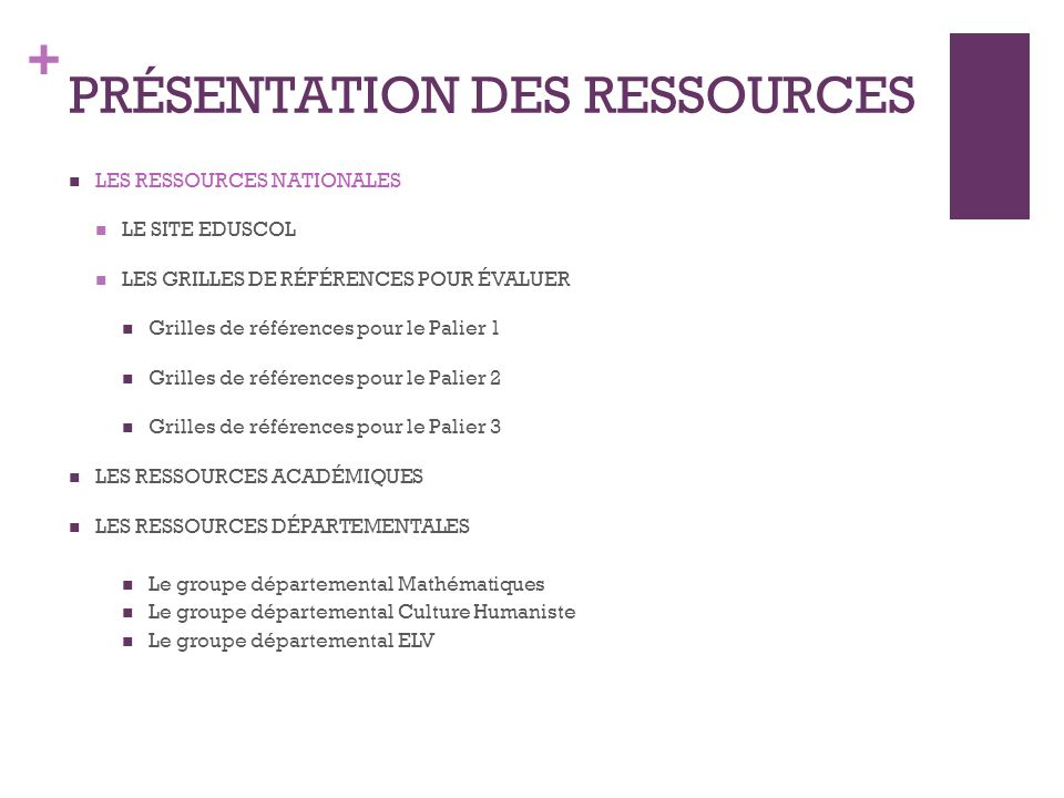 + Le site EDUSCOL: http://eduscol.education.fr/