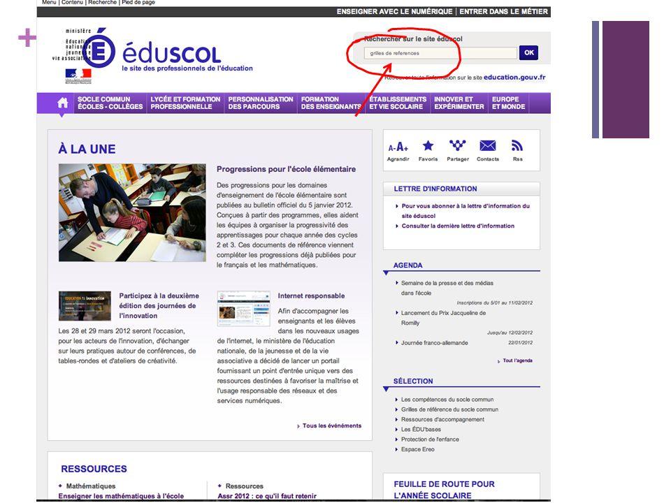 + Le site EDUSCOL: http://eduscol.education.fr/