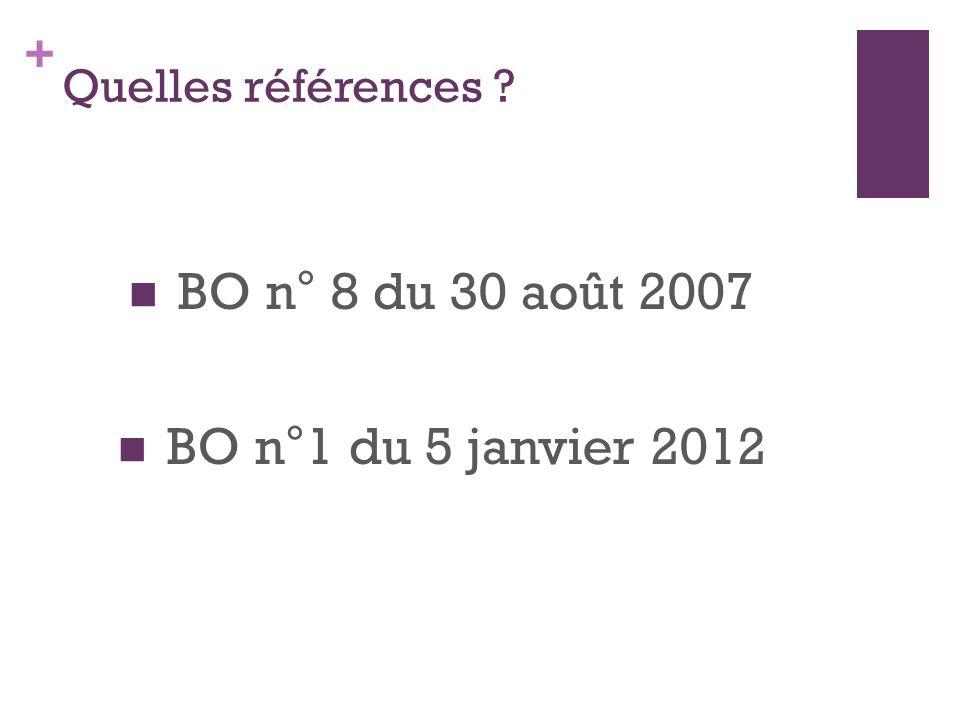 + Quelles références BO n° 8 du 30 août 2007 BO n°1 du 5 janvier 2012