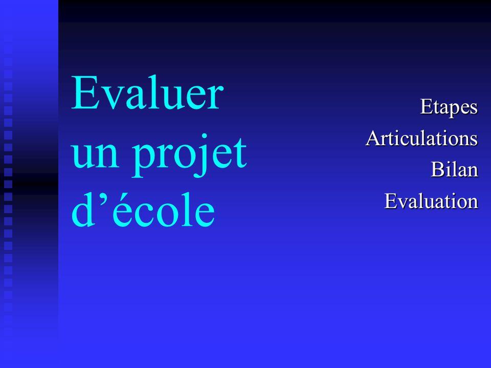 Evaluer un projet décole EtapesArticulationsBilanEvaluation
