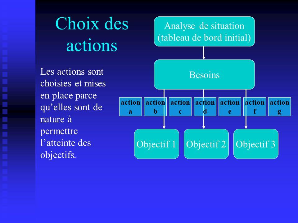 Choix des actions Les actions sont choisies et mises en place parce quelles sont de nature à permettre latteinte des objectifs. Analyse de situation (