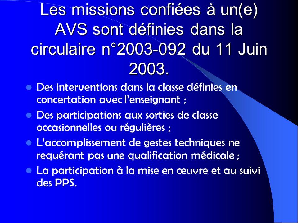 Les missions confiées à un(e) AVS sont définies dans la circulaire n°2003-092 du 11 Juin 2003. Des interventions dans la classe définies en concertati