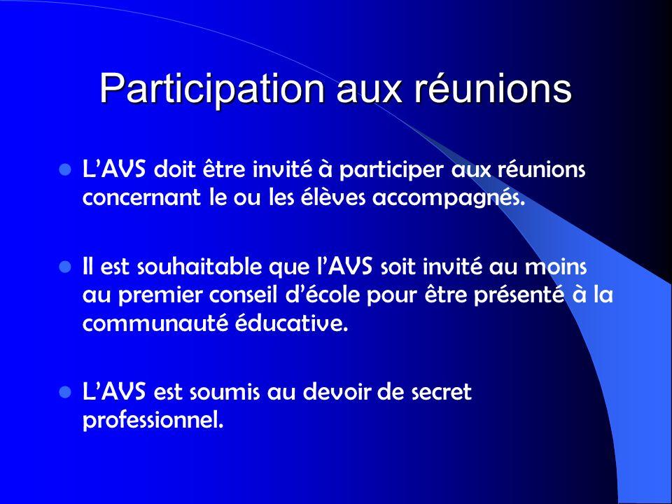 Participation aux réunions LAVS doit être invité à participer aux réunions concernant le ou les élèves accompagnés. Il est souhaitable que lAVS soit i