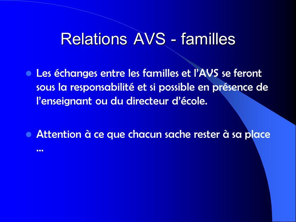 Relations AVS - familles Les échanges entre les familles et lAVS se feront sous la responsabilité et si possible en présence de lenseignant ou du dire