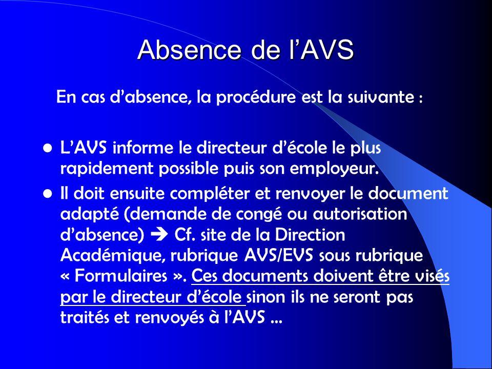 Absence de lAVS En cas dabsence, la procédure est la suivante : LAVS informe le directeur décole le plus rapidement possible puis son employeur. Il do