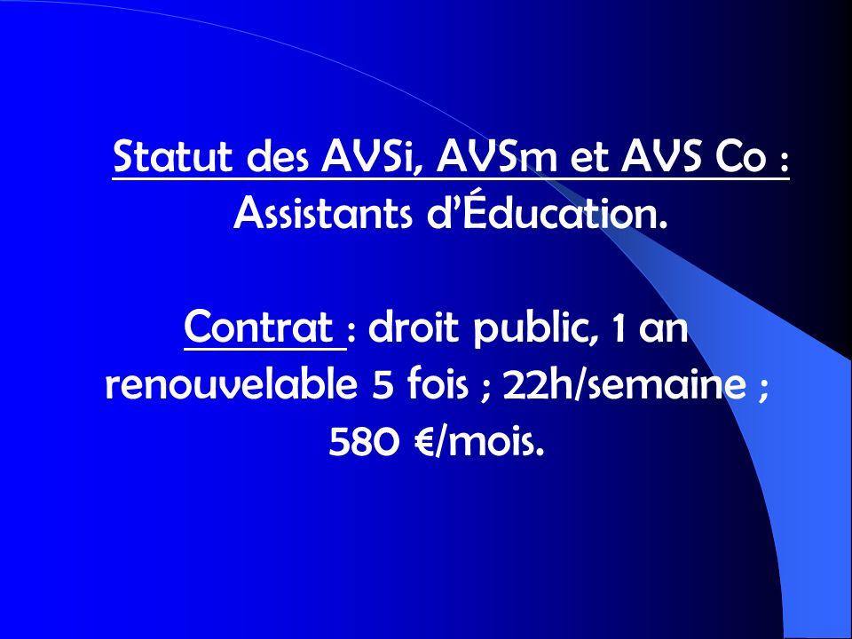 Statut des AVSi, AVSm et AVS Co : Assistants dÉducation. Contrat : droit public, 1 an renouvelable 5 fois ; 22h/semaine ; 580 /mois.