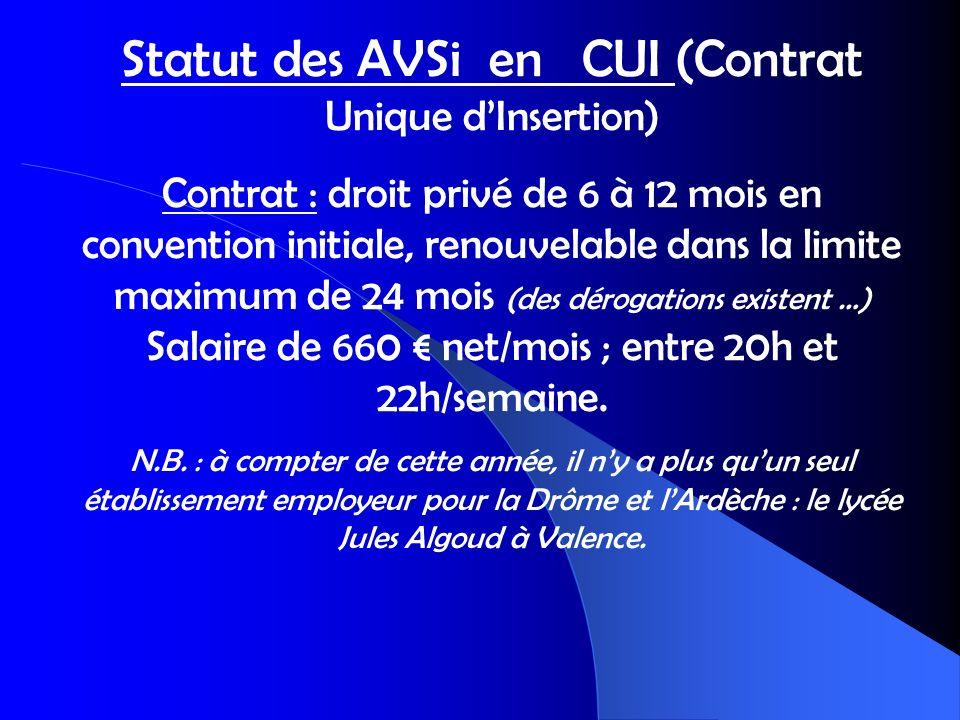 Statut des AVSi en CUI (Contrat Unique dInsertion) Contrat : droit privé de 6 à 12 mois en convention initiale, renouvelable dans la limite maximum de