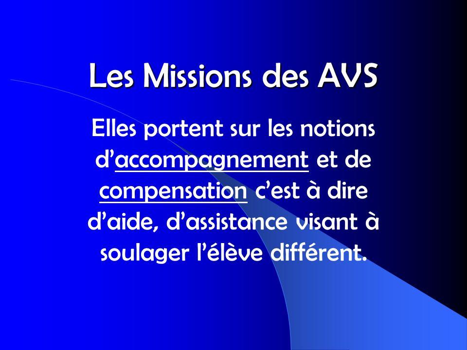 Les Missions des AVS Elles portent sur les notions daccompagnement et de compensation cest à dire daide, dassistance visant à soulager lélève différen