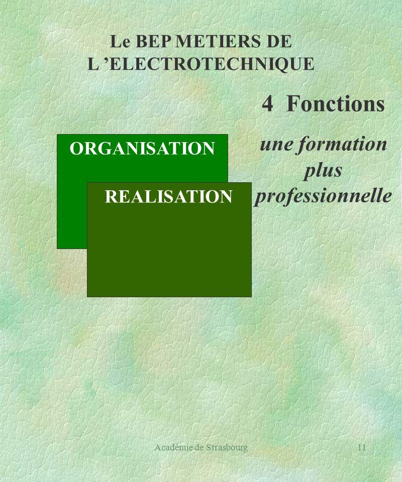 Académie de Strasbourg11 Le BEP METIERS DE L ELECTROTECHNIQUE ORGANISATION REALISATION 4 Fonctions une formation plus professionnelle