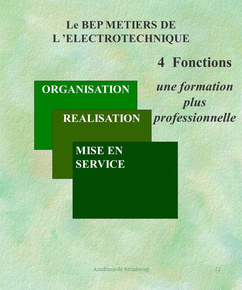 Académie de Strasbourg12 Le BEP METIERS DE L ELECTROTECHNIQUE ORGANISATION REALISATION MISE EN SERVICE 4 Fonctions une formation plus professionnelle