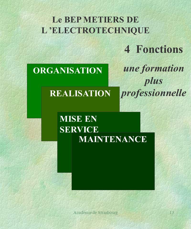 Académie de Strasbourg13 Le BEP METIERS DE L ELECTROTECHNIQUE ORGANISATION REALISATION MISE EN SERVICE MAINTENANCE 4 Fonctions une formation plus professionnelle