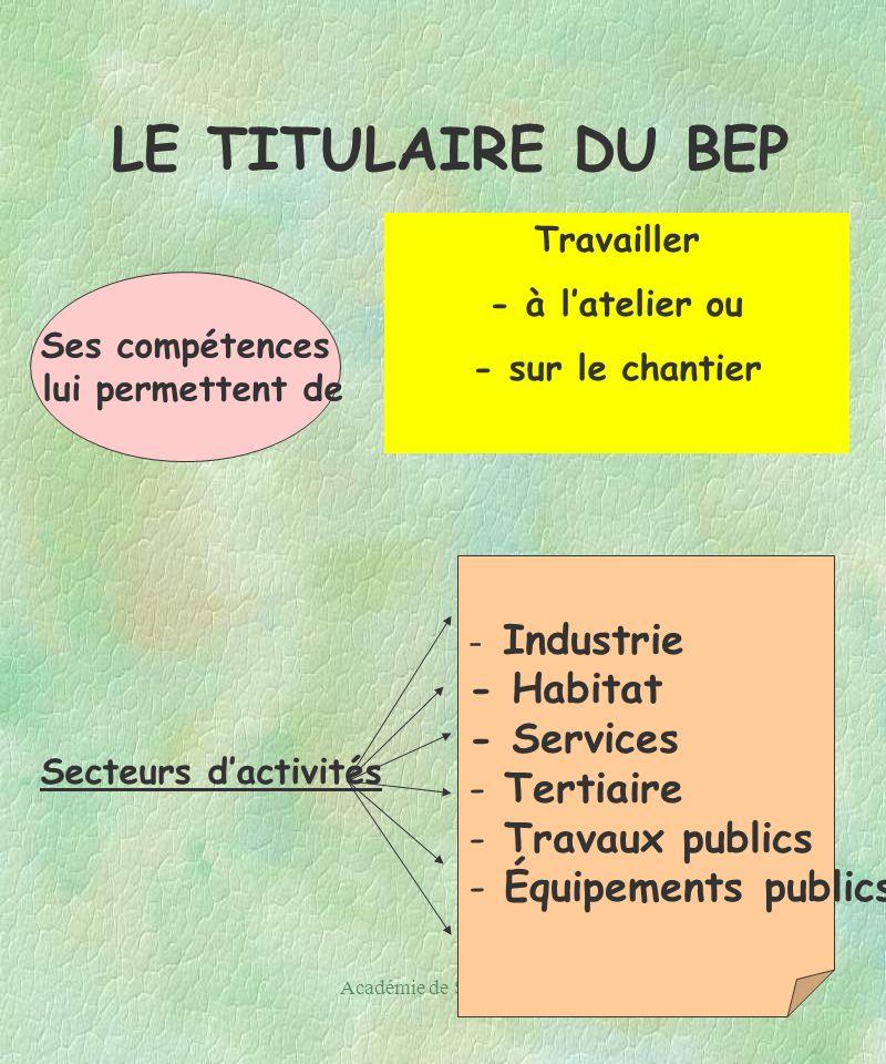 Académie de Strasbourg21 LE TITULAIRE DU BEP Ses compétences lui permettent de Travailler - à latelier ou - sur le chantier - Industrie - Habitat - Services - Tertiaire - Travaux publics - Équipements publics Secteurs dactivités