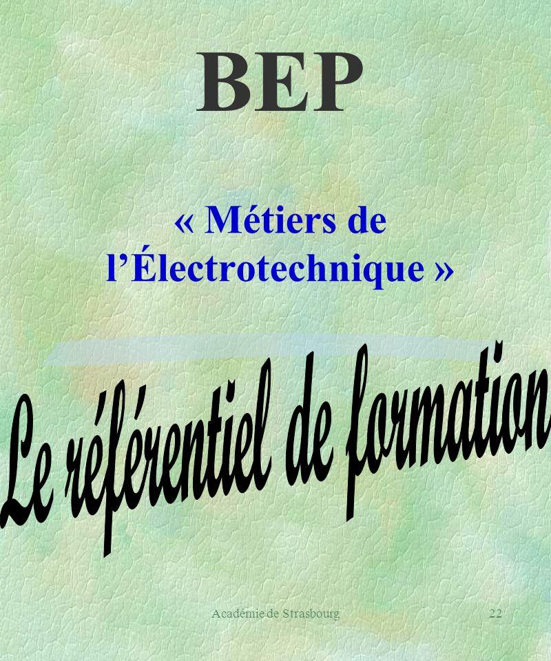 Académie de Strasbourg22 « Métiers de lÉlectrotechnique » BEP