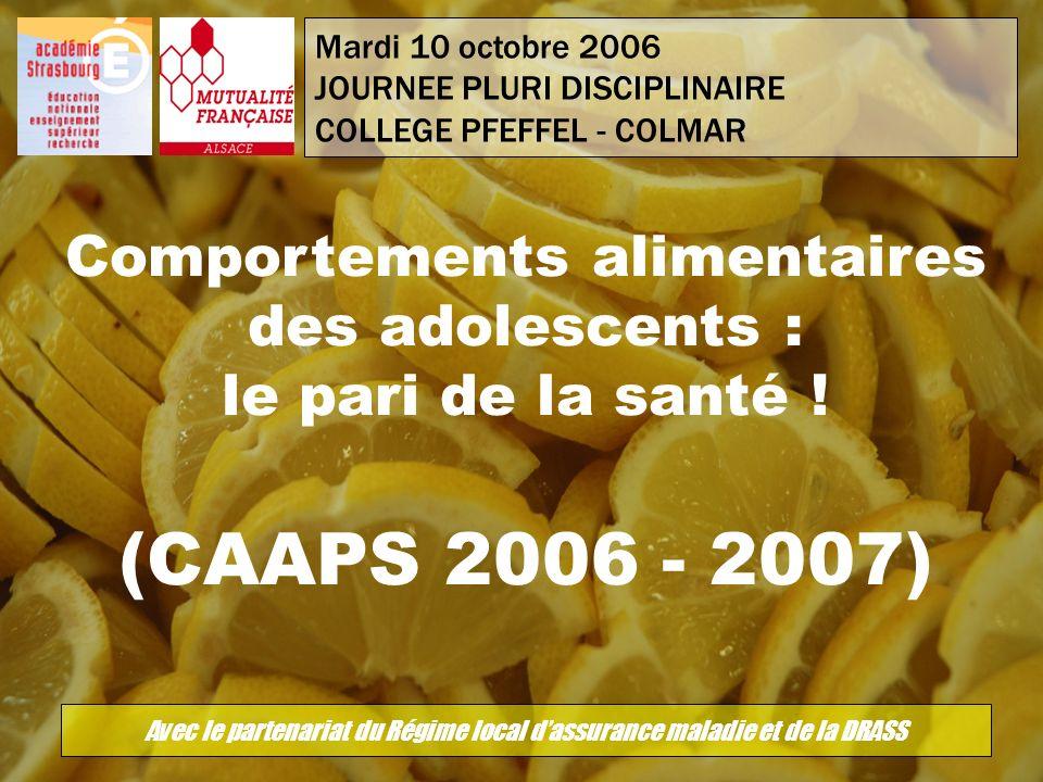 Mardi 10 octobre 2006 JOURNEE PLURI DISCIPLINAIRE COLLEGE PFEFFEL - COLMAR Comportements alimentaires des adolescents : le pari de la santé ! (CAAPS 2