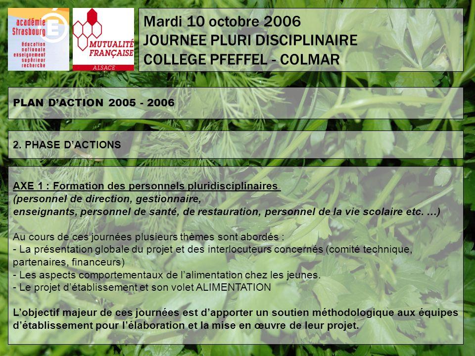 PLAN DACTION 2005 - 2006 2. PHASE DACTIONS AXE 1 : Formation des personnels pluridisciplinaires (personnel de direction, gestionnaire, enseignants, pe