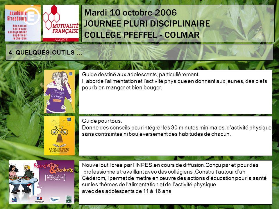 4. QUELQUES OUTILS … Mardi 10 octobre 2006 JOURNEE PLURI DISCIPLINAIRE COLLEGE PFEFFEL - COLMAR Guide destiné aux adolescents, particulièrement. Il ab