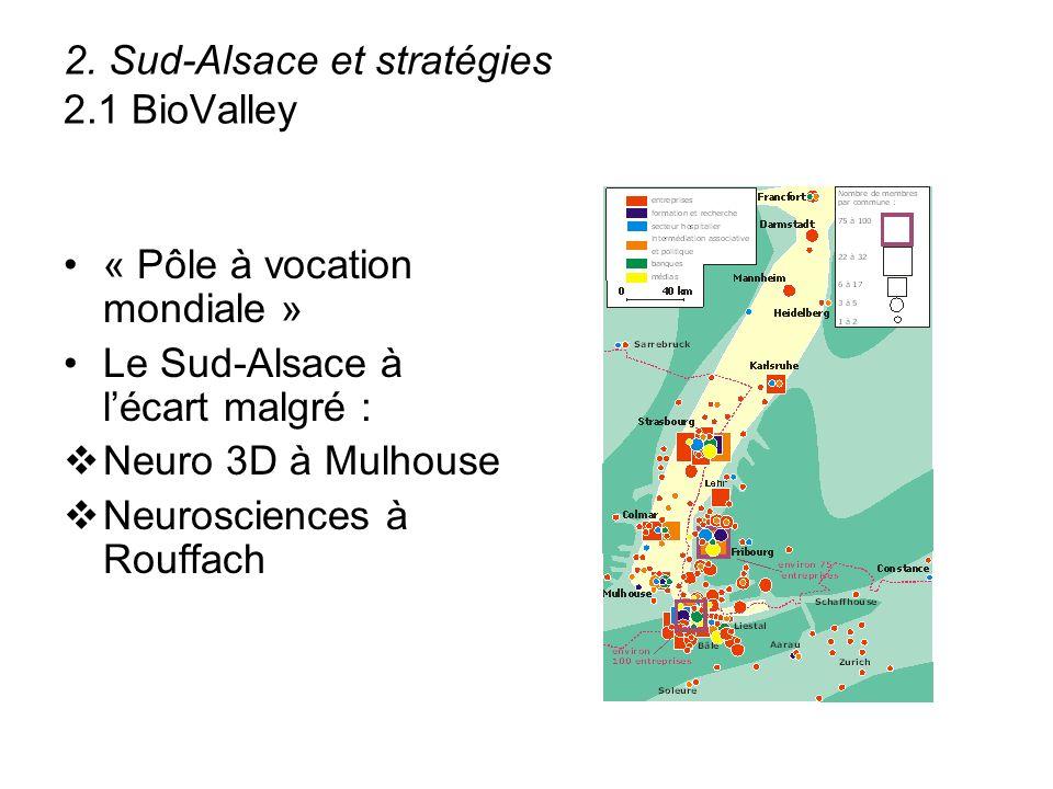2. Sud-Alsace et stratégies 2.1 BioValley « Pôle à vocation mondiale » Le Sud-Alsace à lécart malgré : Neuro 3D à Mulhouse Neurosciences à Rouffach