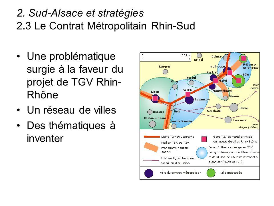 2. Sud-Alsace et stratégies 2.3 Le Contrat Métropolitain Rhin-Sud Une problématique surgie à la faveur du projet de TGV Rhin- Rhône Un réseau de ville