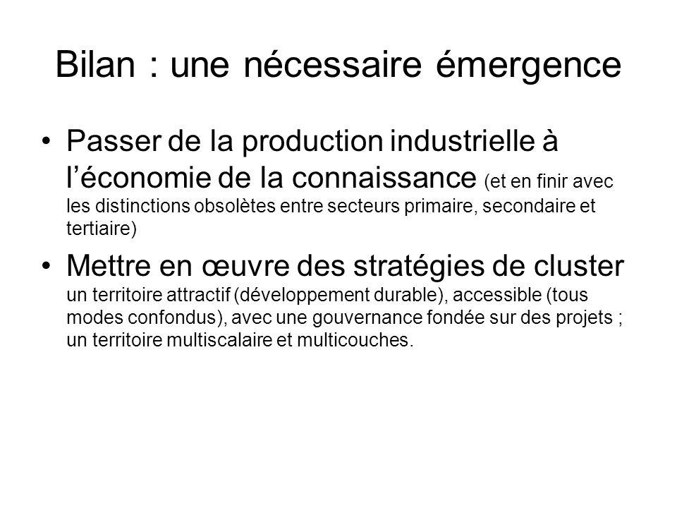 Bilan : une nécessaire émergence Passer de la production industrielle à léconomie de la connaissance (et en finir avec les distinctions obsolètes entr