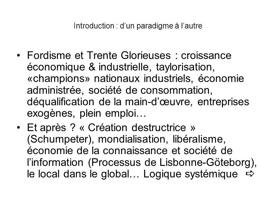 Introduction : dun paradigme à lautre Fordisme et Trente Glorieuses : croissance économique & industrielle, taylorisation, «champions» nationaux indus